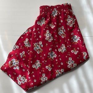 LOFT Red Floral Midi Skirt
